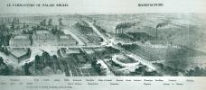 André Godin, Solution Sociales, 1871, Ansicht eines Familistère und der Fabriken in Guise