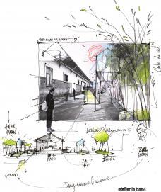 Skizze und Konzept vom atelier le balto zum Ex-Zollamt