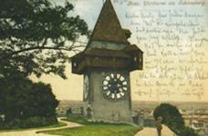 postkarte Uhrturm am Schlossberg, versandt 1903