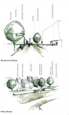Skizze, Wohnbau wettbewerb hummelkaseren süd