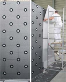 Kletten statt kleben: Das Fassadensystem facade4zeroWaste lässt sich einfach montieren und im Sinne der Nachhaltigkeit sortenrein trennen und wiederverwenden.