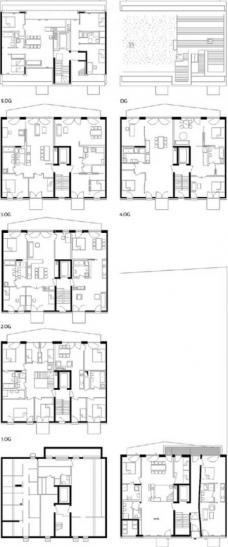 K20: Kreutzigerstraße 20, Berlin-Friedrichshain, Architekten roedig.schop Berlin, Grundrisse Keller – Dachterrasse