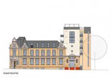 Brennerstrasse Hamburg, Plan-R-Architekten Hamburg.Zubau + Aufstockung für Mietwohnungen, Ansicht NO: Plan-R