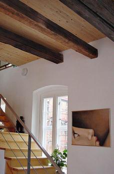 Aegidienhof Lübeck, Meyer-Steffens architekten mit Architektin Sigrid Morawe-Krüger ::::: Brettstapeldecke auf alten Balken, steffens-meyer-franck architekten