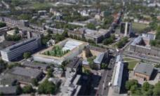 Das Schaubild zeigt die Blockrandbebauung und deutet bereits die große Freitreppenanlage und den Garten mit wild wachsenden Bäumen an. Schaubild: Atelier Thomas Pucher ZT GmbH, Graz