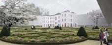 Vom Haupteingang kommend bewegt sich der Besucher durch eine wunderschöne Gartenanlage auf das Konzerthaus zu, kann dabei den Alltag hinter sich lassen und langsam in die Welt der Musik eintauchen. Schaubild: Atelier Thomas Pucher ZT GmbH, Graz