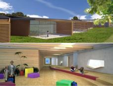 Neubau: Freiklassen und Pausenfläche, Grafik: planrender.com