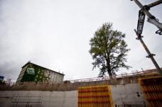 Baustellenimpression: Blick von der Haltestelle, die teilweise offenbleiben wird, zum Hotel Daniel.