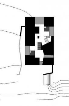 Das geschoßübergreifende Schema zeigt den durch das gesamte Gebäude fließenden multifunktionalen Bewegungsraum. (Darstellung: .tmp architekten)