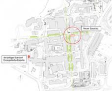 Der Lageplan zeigt den Standort der alten Kapelle und den Bauplatz der neuen.