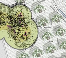 Detailausschnitt Platzgestaltung. Planung : 3:0 Landschaftsarchitektur, Wien. Durch den Neubau der unterirdischen Haltestelle besteht die Möglichkeit, das heterogene Erscheinungsbild des Europaplatzes und die unbefriedigenden Wegrelationen zu adaptieren. Durch den Entfall der Straßenbahntrasse auf Platzniveau ändert sich auch der Spielraum für die Gestaltung der Grünanlage, des zentralen Fußgängerbereiches und der Zone, die derzeitals Restaurantterrasse genutzt wird.