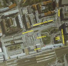 Luftbild Hauptbahnhof mit Europaplatz, Bahnhofgürtel und Kreuzung Bahnhofgürtel / Annenstraße / Eggenberger Straße
