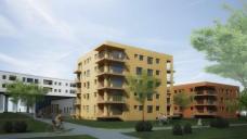 Rendering Außenbereich der Geschoßholzbauten in Passivhausstandard; Nussmüller Architekten ZT GmbH
