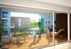 Rendering Innenbereich der Geschoßholzbauten in Passivhausstandard; Nussmüller Architekten ZT GmbH
