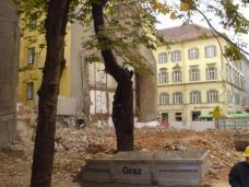 Verlauf des Kommod-Abbruchs in der Grazer Burggasse, im 2003