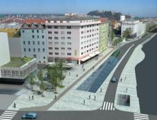 Die Stadt Graz plant, in den nächsten Jahren insgesamt 100 Millionen Euro in die Verbesserung der Annenstraße zu investieren. Schaubild von der oberen Annenstraße. Quelle: Stadt Graz