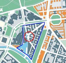 """Lageplan des Quartiers Potsdamer Platz. Blau gerahmt das sg. """"DaimlerChrysler Quartier"""" nach einem städtebaulichen Entwurf von Renzo Piano (1998), rot umkreist der Marlene-Dietrich-Platz im Zentrum des """"DaimlerChrysler Quartiers""""."""