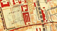Historischer Lageplan des Areals (mit Überlagerung StudentInnenentwurf)