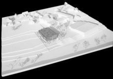 Modell Neubau Volksschule Hausmannstätten, Blick von Süden. Planung: .tmp architekten, Graz