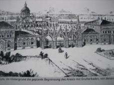 Die historische Darstellung zeigt die von Architekt Carl Lauzil geplante Begrenzung des Arials mit Gruftarkaden.