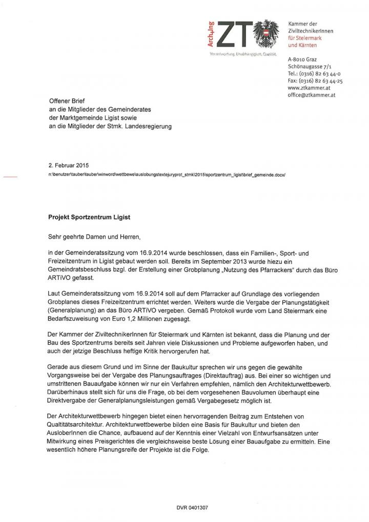ZT-Kammer: Offener Brief Projekt in Ligist