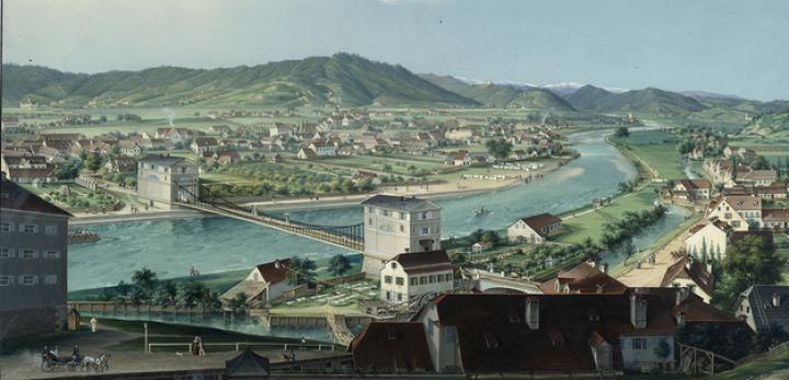 Conrad Kreuzer: Die neuerbaute Kettenbrücke der Hauptstadt Graz – Ansicht vom Schloßberg gegen Westen, 1836 Tempera auf Papier