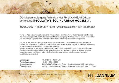 Speculative social urban models for Fh studium architektur